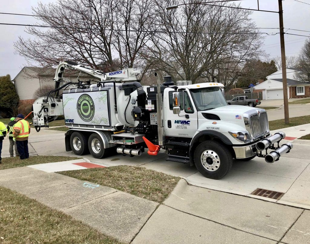 Action Shot of Utility Edition Combo Jet/Vac Sewer Cleaner